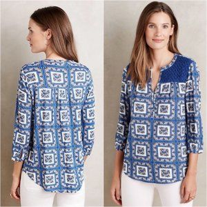 Porridge Floral Lace Peasant Blue Hippie Blouse